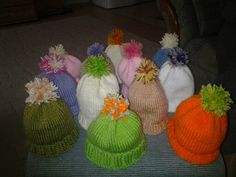 Cute knitted newborn baby hats made by my auntie <3