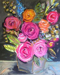 Abstract Roses Floral gray gold pink by Marendevineart on Etsy, pink, orange, devine, texas, artist