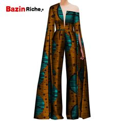 2019 African Print Women Pant Set One Shoulder Super Long Sleeve Romper Wide Leg Pants African Ladies Jumpsuits Rompers Africa Clothing from Novelty & Special Use on AliExpress - Day African Print Jumpsuit, African Print Clothing, African Print Fashion, African Print Dresses, Africa Fashion, African Prints, Indian Fashion, Latest African Fashion Dresses, African Dresses For Women