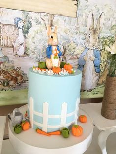 The birthday cake at this Peter rabbit party is so adorable! What's not too love about it?! See more party ideas and share yours at CatchMyParty.com #catchmyparty #peterrabbit #cake