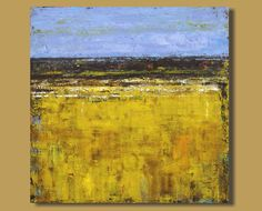 abstract painting, abstract landscape painting of field, large original art, yellow prairies (30x30) Prairie Wheat by SageMountainStudio on Etsy