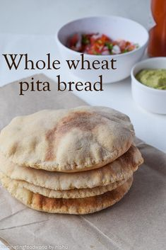 fascinatingfoodworld: Whole wheat pita bread