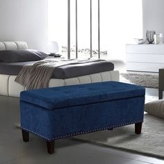 Adeco Microfiber Tufted Rectangle Storage Bench Ottoman