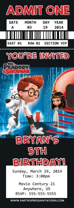 Mr. Peabody and Sherman Birthday Ticket Invitations $8.99