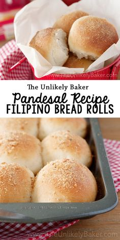 Pandesal Recipe (Filipino Bread Rolls) - Jackie Magyar - Pandesal Recipe (Filipino Bread Rolls) Here's an easy pandesal recipe so you can make the quintessential Filipino bread roll at home - crunchy outside, soft and fluffy inside, delicious. Filipino Bread Recipe, Best Bread Recipe, Bread Recipes, Baking Recipes, Cuban Recipes, Pinoy Recipe, Vegetarian Recipes, Philipinische Desserts, Filipino Desserts