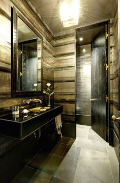 """Powder Room wrapped in """"Linear"""" wallpaper by Callidus Guild #interiordesign - More wonders at www.francescocatalano.it"""