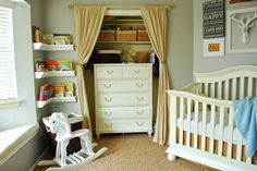 Nursery space savers:  1. Put the dresser in the closet.  2. Remove closet doors and replace with drapes