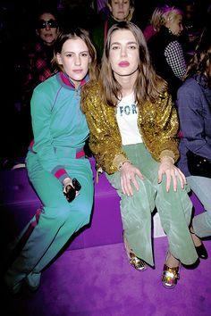 """charlottemonaco: """"Juliette Dol and Charlotte Casiraghi attending Gucci fashion show in Milan, Italy 22 february 2017 """""""