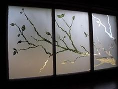 Tree branch outline etched into an old window frame. Bing : old window crafts @Jamie Wise Wise Wise Furman