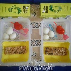 Lanche: barra de cereal+ovinhos+tomatinho+limonada do bem