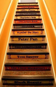 Book Spines Painted on Steps for My Bookworm :)