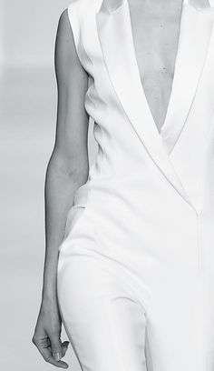 White Tailored Jumpsuit - chic fashion details // Mugler Spring 2015