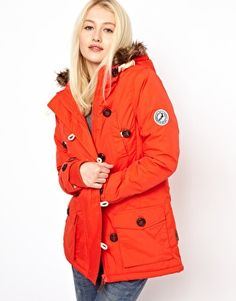 Image 1 ofBellfield Button Front Parka With Faux Fur Lined Hood