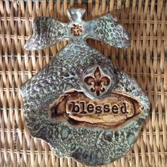 Angel Pottery Cross Clay Fleur Artisan Designs Blessed