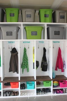 Keeping it Simple: DIY Garage Mudroom Lockers with Lots of Storage Need extra storage for all of your stuff? Then you need to build these garage mudroom lockers to organize all of your things! Garage Lockers, Mud Room Garage, Wood Lockers, Garage Entry, Garage House, Garage Mudrooms, Garage Cabinets, Garage Shelving, Closet Mudroom