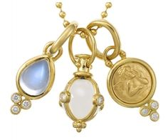 """18K Signature Charm Necklace with Rock Crystal Amulet, Royal Blue Moonstone and Angel Pendants with Diamonds - 16"""" Ball Chain  $3250"""