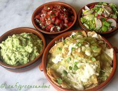 Verde (Tomatillo-Poblano) Chilaquiles with Guacamole, Pico de Gallo and Radish-Jalapeno Salid