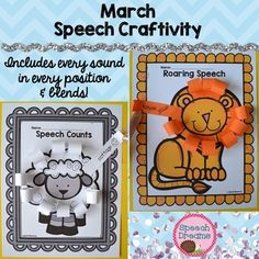 March Speech Craft for articulation or language: What a fun way to practice your speech words and make a fun lion or lamb craft.  Every sound in every position plus blends are included.  You have 10 words for every sound in the  initial, medial and final position of words.
