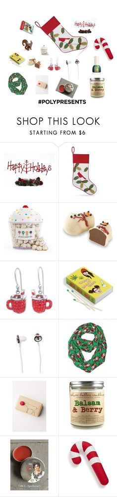 #PolyPresents: Stocking Stuffers by aimiliakounadi on Polyvore featuring beauty, Anthropologie, Forever 21, Belk Silverworks, Sur La Table, Dylan's Candy Bar, Moonstruck, Jelly Belly, C & F and contestentry