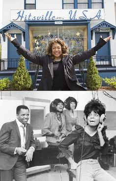 Hitsville U.S.A., Motown's original headquarters & recording studios at 2648 West Grand Boulevard in Detroit. Top (2009): Mary Wilson at Hitsville, now the Motown Museum. Bottom (Jan. 14, 1965): Berry Gordy Jr. & The Supremes in Studio A.