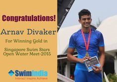 Karnataka Swimmer bags Gold in his first Open Water Swim in Singapore! ‪#‎SwimIndia‬ wishes an enthusiastic Arnav Divaker, years of supreme success.