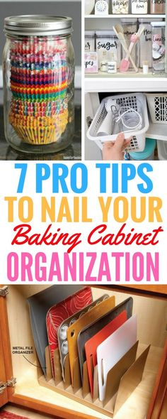 7 Pro Tips For Baking Cabinet Organization & Some of the best Organization Ideas& 7 Pro Tips For Baking Cabinet Organization & Some of the best Organization Ideas For The Home that I& read! The post 7 Pro Tips For Baking Cabinet Organization Organisation Hacks, Baking Organization, Storage Organization, Storage Ideas, Storage Hooks, Pan Storage, Food Storage, Storage Containers, Kitchen Organization Ideas Diy