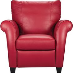 [Layla Genuine Leather Reclining Chair – Red]