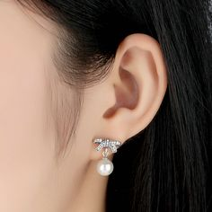 babc6ed2d US $19.78 |Aliexpress.com : Buy 925 Sterling silver Delicate Sentiments stud  earrings with White Pearl & Clear Cubic Zirconia for women gift from  Reliable ...