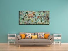 """Original 60""""W x 28""""H Lotus Flowers Rustic Oil Painting on Canvas / Impasto Thick Layers Flower Wall Art / Mixed Media Acrylic Painting Art"""