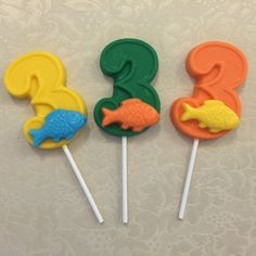 NUMBER THREE FISH Chocolate Lollipop  by DeliciousCandyCo on Etsy Third Birthday, Boy Birthday, Sailing Party, Order Cupcakes, Cowboy Theme Party, Lollipop Party, Chocolate Lollipops, Party Needs, Birthday Party Favors