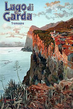 "Vintage Italian travel poster for the Tremosine community on a bluff overlooking Lake Garda. Illustrated by Elio Ximenes, circa ""Summer & winter resort. Retro Poster, Poster Vintage, Vintage Travel Posters, Print Poster, Vintage Ads, French Vintage, Italy Tourism, Travel And Tourism, Italy Travel"