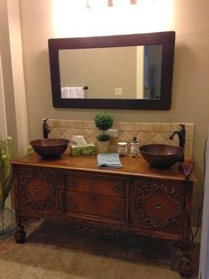 Antique dresser turned bathroom vanity. | Dresser ...