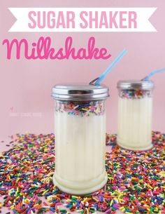 Sugar Shaker Milkshake. A fun (and less expensive) alternative to mason jars. The hole for the straw is already there! Smart!