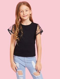 To find out about the Girls Dot Mesh Sleeve Tee at SHEIN, part of our latest Girls T-Shirts & Tanks ready to shop online today! Moda Fashion, Fashion News, Girl Fashion, Fashion Black, Girl Outfits, Cute Outfits, Fashion Outfits, Tank Shirt, Two Piece Outfit