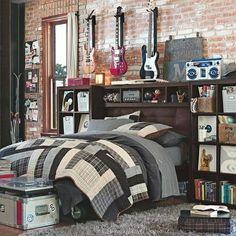 Inspiring Boys Bedroom Design : Three Guitar Grey Quilt Woden Header Boar Brick Wall In Musician Boy Room Decor