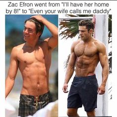 Zac Efron, I've always thought he was sexy since high school musical Hight School Musical, High School, Fitness Tips, Fitness Motivation, Fitness Memes, Video Humour, Skylar Astin, Eric Dane, James Maslow