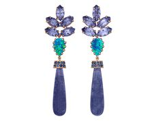 Clover Long Earrings with tanzanite, opal and blue sapphire