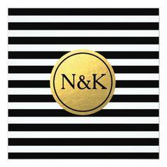 Black White Striped & Gold Foil Wedding Invitation