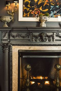 Carved fireplace, modern art
