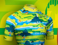 """Brazil-inspired cycling jersey design for Milltag"" by Ben The Illustrator."