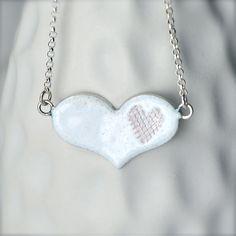 White Enamel Pendant Heart Jewelry