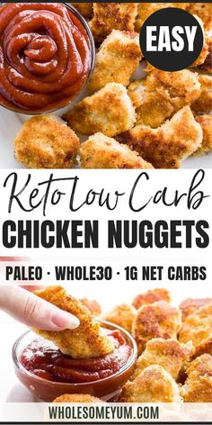 5-Ingredient Paleo Low Carb Chicken Nuggets (Gluten-Free) - This paleo, low carb chicken nuggets recipe is easy to prepare with just 5 ingredients. You can make them fried or baked! #wholesomeyum #keto #lowcarb #paleo #whole30 #ketonuggets #lowcarbdinner #lowcarbappetizer #glutenfree #chickennuggets Paleo Chicken Nuggets, Chicken Nugget Recipes, Low Carb Chicken Recipes, Healthy Low Carb Recipes, Low Carb Dinner Recipes, Ketogenic Recipes, Paleo Recipes, Real Food Recipes, Dessert Recipes