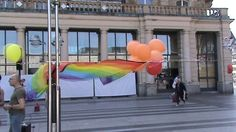 Preparations for speeches for LGBTQ Rights in the centre of Cologne, Germany. LGBT TRAVELS © Copyright.   LgbtTravels #LgbtTravels   Phone and WhatsApp: +7 903 156 29 69, Roman or Oleg.   LGBT Travels https://sites.google.com/site/srokunet/home