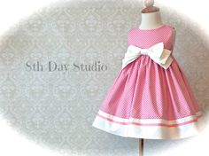 Girls Easter Dress, Toddlers Easter Dress, Special Occasions, Pink Bow Dress, Church, Wedding, Sizes 18mo - 8 by 8th Day Studio