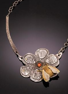Large Silver Flower and 18k Gold Bee Necklace with Carnelian, taivautier.com $3,400