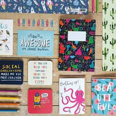 We love this photo, from last years catalogue, of some of our fabulous products! We've grown quite a bit in the last year or so, we always like to hear what your favourite Whale & Bird items are?  . . .⠀  #whaleandbird #katieabey #thehappypencil #sarahedmonds #jenbpeters #charlyclements #laurengoodland #saramaese #bethanwoolvin #stationery #gifts #wrap #notebooks #cards #coasters #birds #nature #awesome #socilaexpectations #green #cactus #plants #octopus #cuppa #cats #dinosaurs #jurassicpark