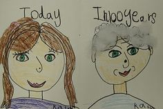 100th day of school:  portraits of you today and you 100 years later