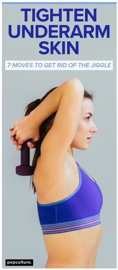 Underarm skin feeling a little fuller than normal? Then you'll love this quick and effective workout to get rid of loose and jiggly underarm skin. Popculture.com #underarmskin #flabbyarms #jigglyarms #armfat #armworkout #armworkoutweights #womenshealth