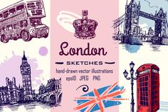 Set of london sketches by Hand-drawn  on @creativemarket