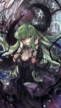 Anime picture 				800x1410 with  		code geass 		sunrise (studio) 		c.c. 		creayus 		long hair 		single 		tall image 		yellow eyes 		looking away 		green hair 		signed 		girl 		dress 		flower (flowers) 		ribbon (ribbons) 		choker 		black dress